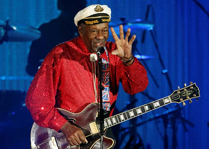 FILE PHOTO Rock and roll legend Chuck Berry performs during the Bal de la Rose in Monte Carlo, Monaco on March 28, 2009. REUTERS/Eric Gaillard/File Photo
