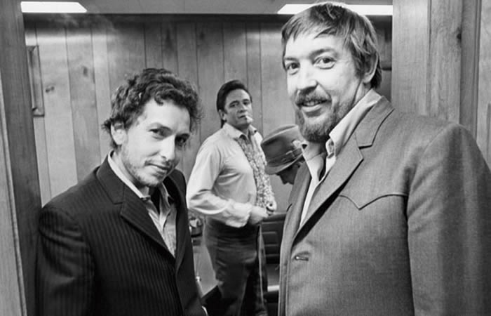 Foto: Bob Dylan, Johnny Cash y Bob Johnston