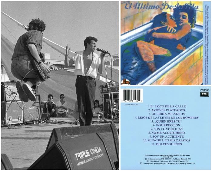 Izquierda, fotografía de Xavier Mercadé a El Último de la Fila (1986). Derecha, el primer disco en el que se incluyó una fotografía suya (en el interior del libreto).