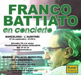 Franco Battiato actuará en septiembre en Barcelona y Madrid