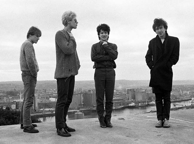 U2 on top of Cork Country Club Hotel roof in Cork, Ireland on February 4 1980